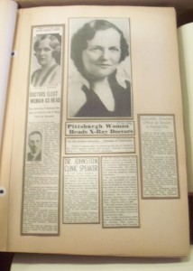 Page from one of the six scrapbooks donated to the Heinz History Center Library and Archives detailing the emergence of Dr. Zoe Johnston in the field of Radiology.